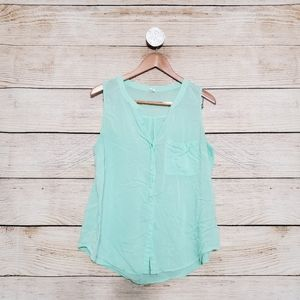 💟5/$25 Old Navy Teal Button Down Tank Blouse XL